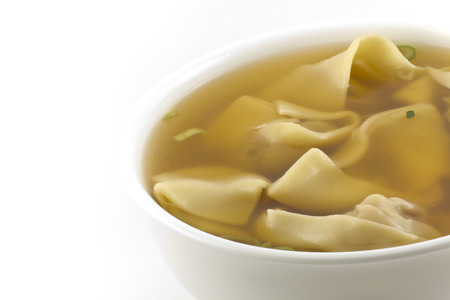 take out: Wonton soup take out as restaurant makes it with fortune cookie and wooden chopsticks Stock Photo