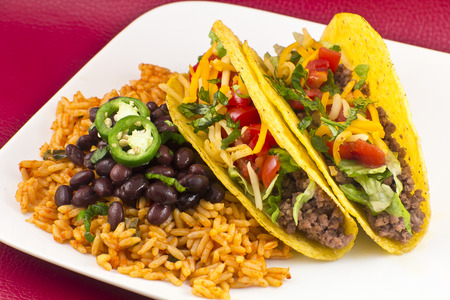 Mexican tacos with rice, black beans, and jalapenos Stok Fotoğraf - 32147786