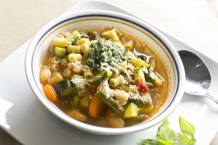 Soupe au pistou, French vegetable soup with pesto and basil