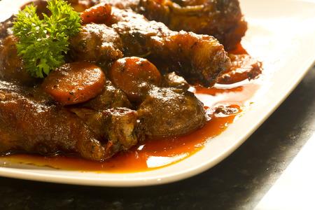 vin: French cuisine, Coq Au Vin, crimini mushrooms, carrots, with wine sauce