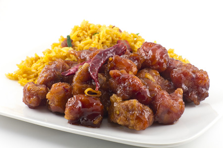 hot and spicy General Tso's Chicken chinese food takeout