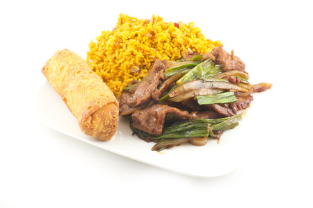 Take out Chinese sauteed fried beef strips with scallion served with an egg roll and pork fried rice photo