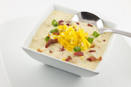 Corn chowder with scallions bacon and grated cheddar Stok Fotoğraf