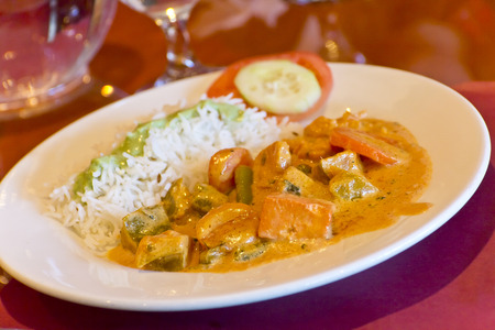 basmati rice: Indian vegetable korma with basmati rice and tofu Stock Photo