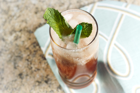Refreshing thai iced tea garnished with fresh mint leaves Reklamní fotografie