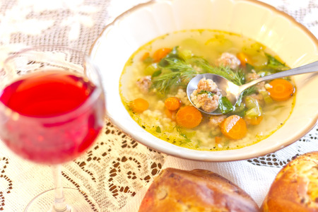 pepe: Italian Wedding Soup with fresh baked onion bread, and a glass of red wine