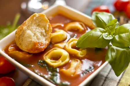 hearty: Hearty tortellini tomato soup with spinach and basil