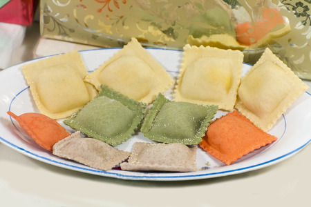 tri  color: Authentic home made Italian tri color ravioli, uncooked