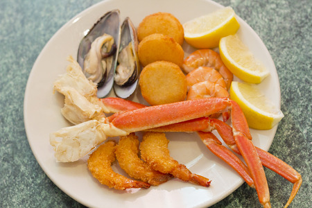 medley: Seafood medley including crab legs breaded shrimp muscles and fried scallops