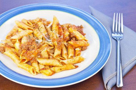 Penne pasta with ground beef meat sauce