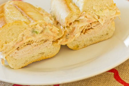 reuben: Healthy alternative, turkey reuben on a torpedo roll with cole slaw dressing