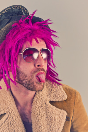 sarcastic: Pink haired bearded bum lunatic man with cool sunglasses