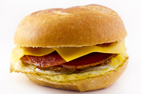 Taylor ham, pork roll, egg and cheese breakfast sandwich on a kaiser roll from New Jersey