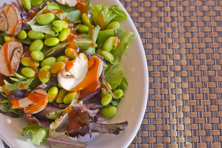 french bean: Edamame bean salad with fresh sliced mushrooms and French dressing