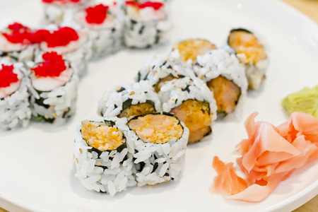 Special crab Ikura, fish roe, roll and spicy salmon roll