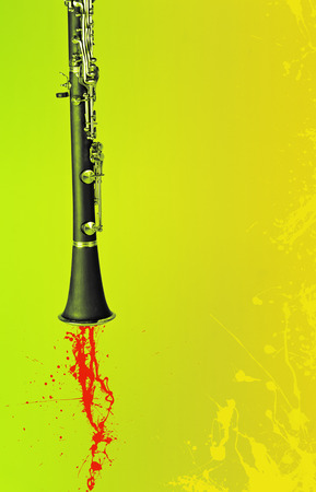 riff: Jazz Clarinet background with paint splatters and plenty of copy space Stock Photo