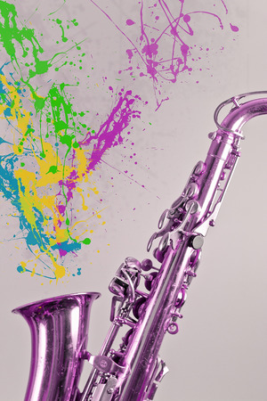 symbolize: Saxophone plays a bunch of paint splatters to symbolize creative minds