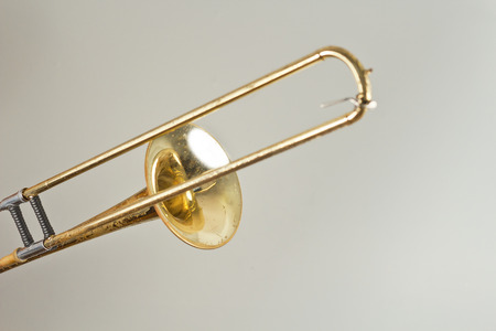 trombone: Old rusty trombone has seen better days Stock Photo