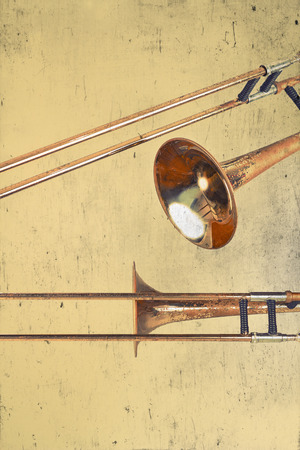 grunge backgrounds: Rusty Trombones in grunge style textured musical background