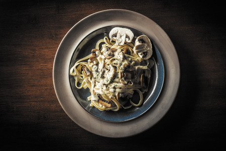 alfredo: Fancy organic fetuccine pasta with creamy alfredo mushroom sauce