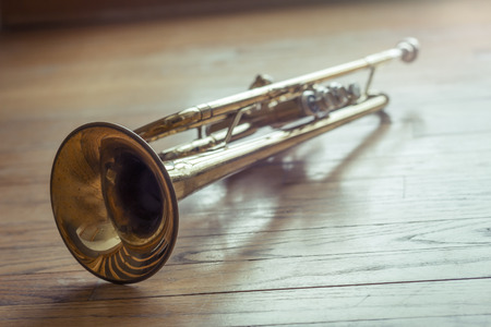 brass: The joyful noise of this old trumpet rings through the halls like a ghost of forgotten memories Stock Photo