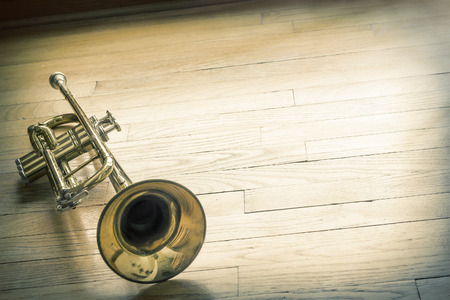 The joyful noise of this old trumpet rings through the halls like a ghost of forgotten memories Stock Photo