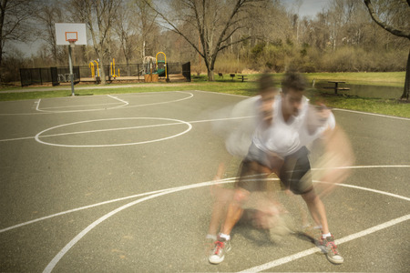 timelapse: Basketball spider dribbling motion blur and timelapse stylized photo Stock Photo