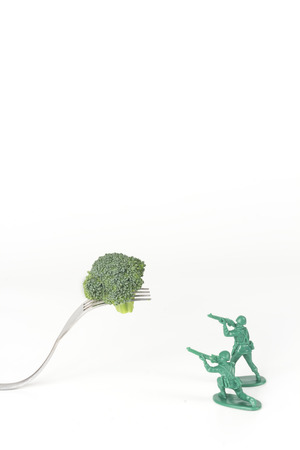 green plastic soldiers: Green army men attack a threatening kitchen fork