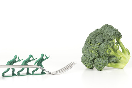 army man: Army Men carry fork to broccoli in childrens healthy eating image