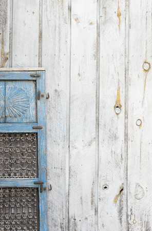 old architecture: Weathered blue shutter for abstract background grunge image Stock Photo