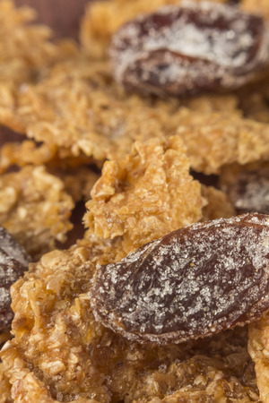 Close up macro bran cereal with raisins for heart healthy background Stok Fotoğraf