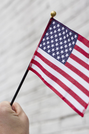 american flags: Waving three American flags in support the United States and freedom Stock Photo