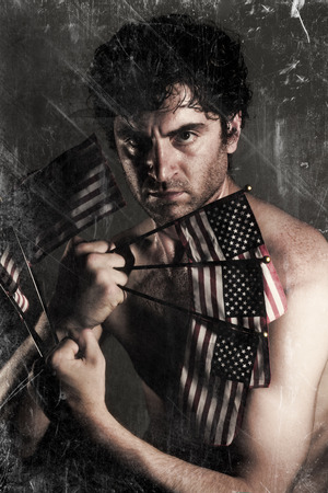 american flags: Stylized Uncle Sam fighter holding American Flags as claws Stock Photo