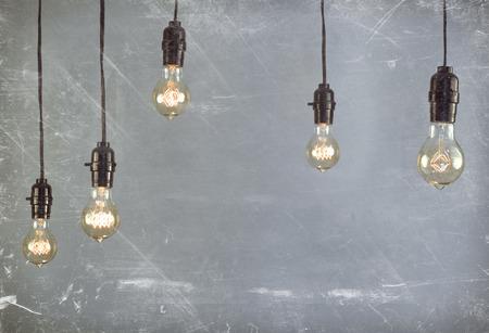Hanging antique edison style filament light bulb