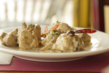 Indian Mughlai chicken with sliced vegetables and spicy pepper Imagens