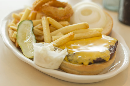 pickle: Hamburger with cheese pickle fries and just about everything