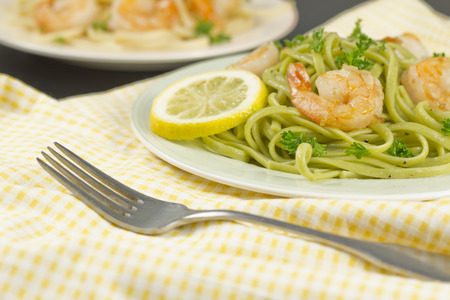 gambas: Shrimp scampi with linguine lemon and parsley Stock Photo