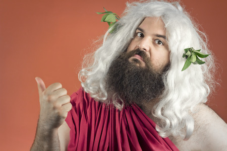 get out: Zeus God or jupiter says to get out of here Stock Photo
