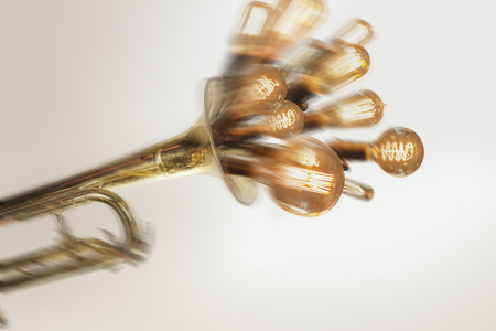 edison: Decorative antique edison style filament light bulbs erupting from trumpet Stock Photo