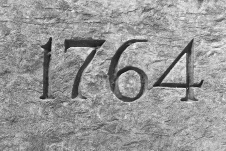 Granite wall with the year 1764 etched in stone Imagens