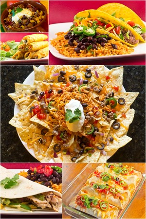 nachos: Collage of various Mexican dishes including enchiladas taquidos nachos and fajitas