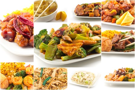 arroz chino: Varios alimentos chino popular sacar platos imagen Collage en