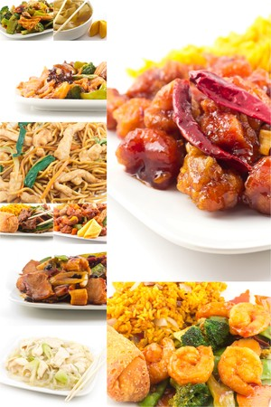 Various popular Chinese food take out dishes in collage image Stock fotó