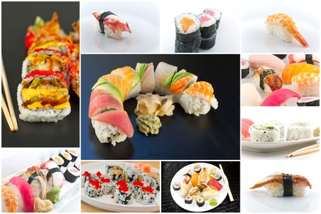 Variety of popular sushi rolls in Japanese food collage imagery