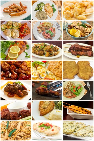 chinese menu: Variety of popular chicken dishes in food collage imagery