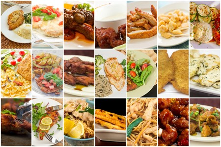various: Variety of popular chicken dishes in food collage imagery