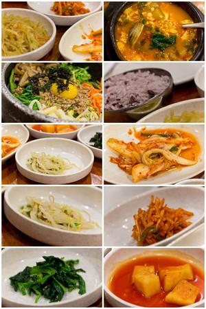 음식 콜라주 이미지에서 인기있는 한국 요리의 다양한 스톡 콘텐츠