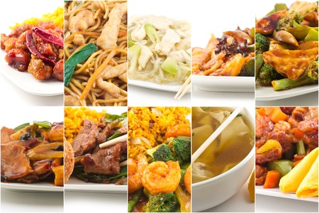 Various popular Chinese food take out dishes in collage image Stock Photo