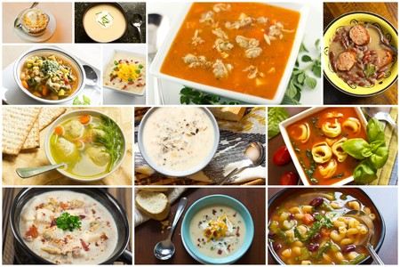 Variety of popular homemade soups in food collage imagery