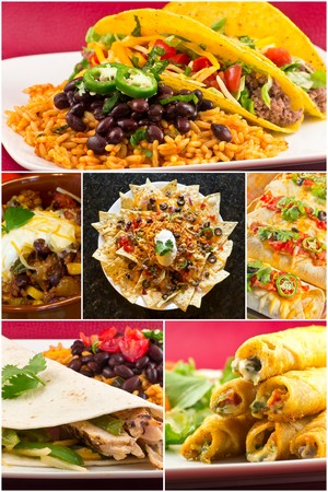 combo: Collage of various Mexican dishes including enchiladas taquidos nachos and fajitas